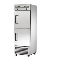 TRUE T-23DT dual temperature refrigerator/freezer, two stainless steel half doors