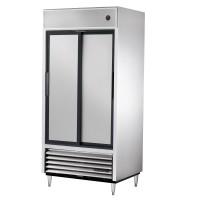 TRUE TSD-33 slide door reach-in refrigerator, two stainless steel doors