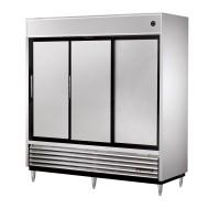 TRUE TSD-69 slide door reach-in refrigerator, three stainless steel doors